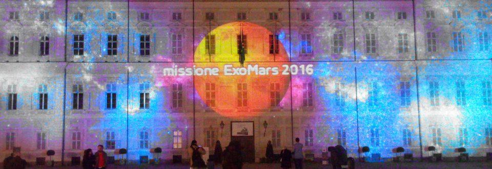 Missione Marte proiettata sul palazzo reale di Torino